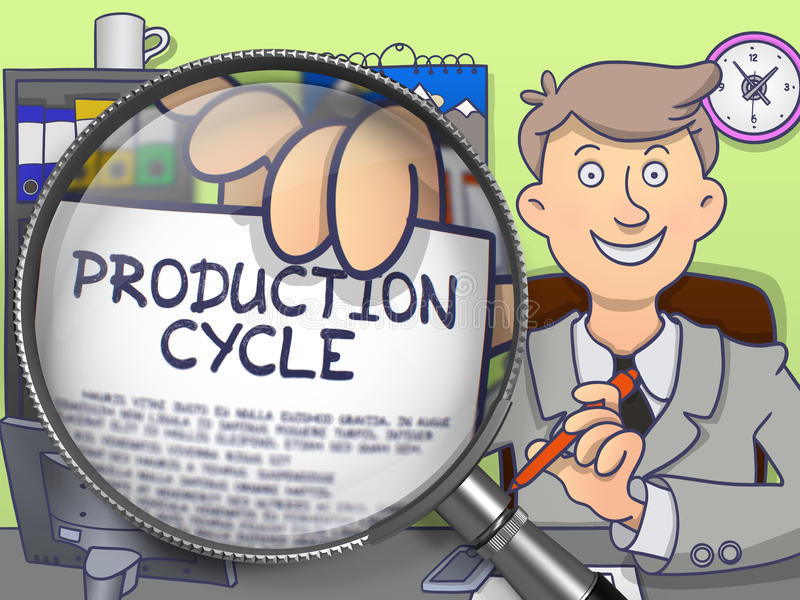 Κύκλος παραγωγής μέσω Magnifier Σχέδιο Doodle απεικόνιση αποθεμάτων