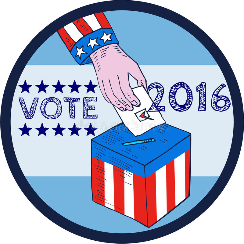 Κύκλος χαρακτική κάλπη χεριών ψηφοφορίας 2016 ελεύθερη απεικόνιση δικαιώματος