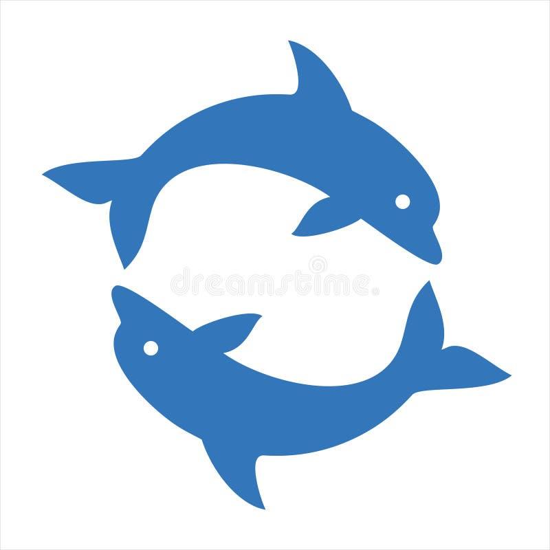 Κύκλος δύο δελφινιών διανυσματική απεικόνιση