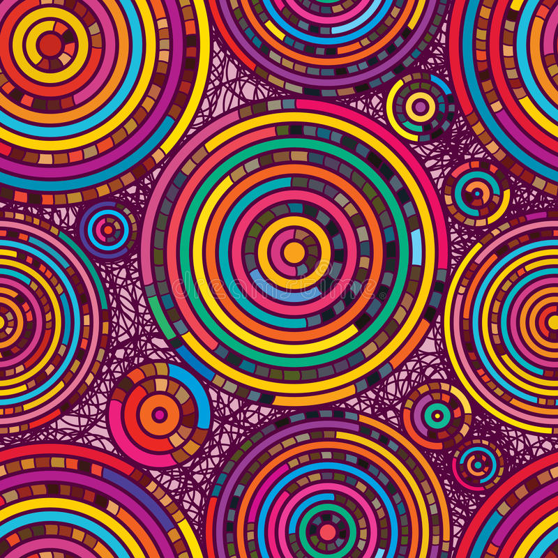 Κύκλων άνευ ραφής σχέδιο χρώματος γραμμών τυχαίο διανυσματική απεικόνιση