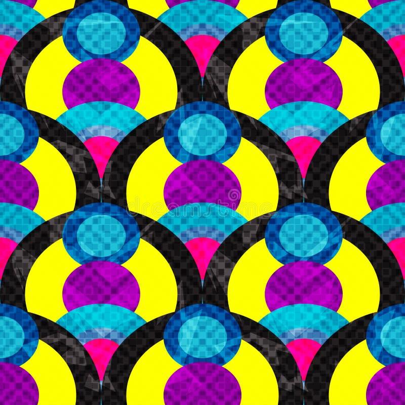Κύκλων και γραμμών αφηρημένη γεωμετρική άνευ ραφής επίδραση απεικόνισης σχεδίων διανυσματική grunge απεικόνιση αποθεμάτων