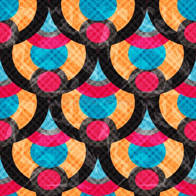 Κύκλων και γραμμών αφηρημένη γεωμετρική υποβάθρου άνευ ραφής επίδραση απεικόνισης σχεδίων διανυσματική grunge διανυσματική απεικόνιση