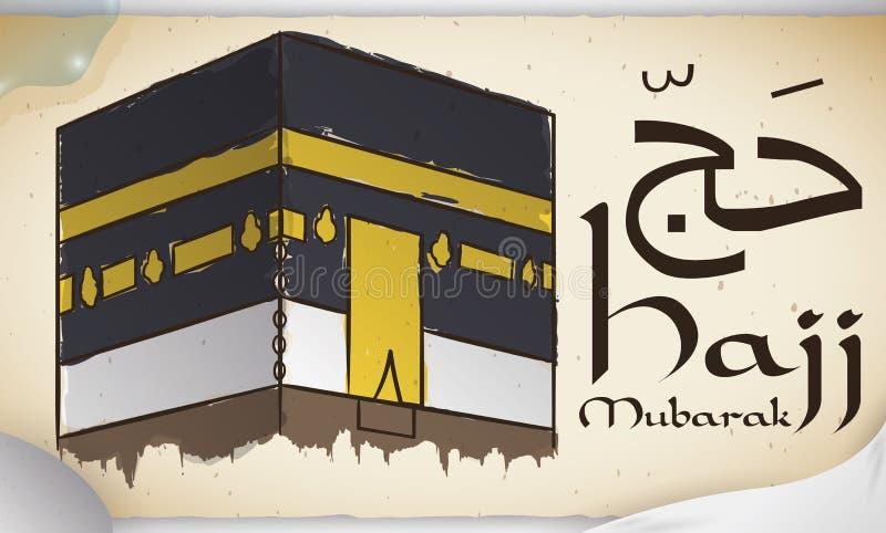Κύλινδρος με Kaaba, ύφασμα Ihram, το Stone και το νερό για Hajj, διανυσματική απεικόνιση ελεύθερη απεικόνιση δικαιώματος