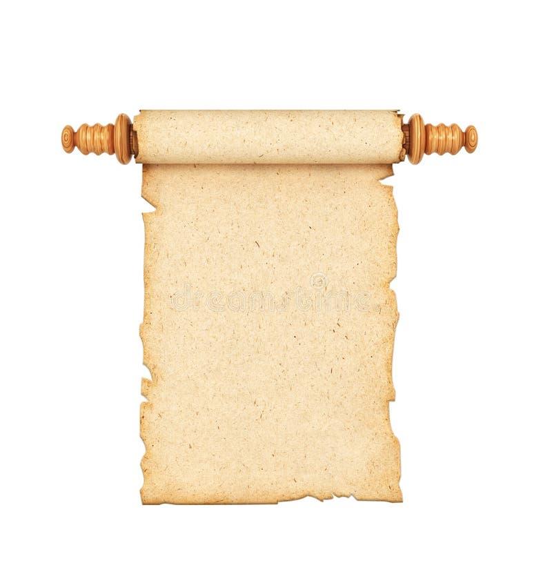 Κύλινδρος, το παλαιό έγγραφο που απομονώνεται σε ένα άσπρο υπόβαθρο τρισδιάστατος απεικόνιση αποθεμάτων