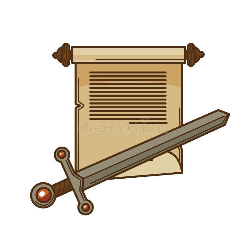 Κύλινδρος χειρογράφων και αρχαίο διανυσματικό εικονίδιο ξιφών για την εκλεκτής ποιότητας λογοτεχνία ανάγνωσης ή ποίησης βιβλίων ή απεικόνιση αποθεμάτων