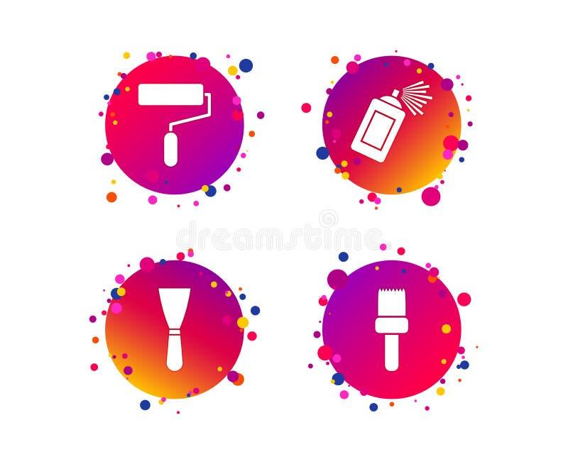 Κύλινδρος χρωμάτων, εικονίδιο βουρτσών Ο ψεκασμός μπορεί και Spatula διάνυσμα ελεύθερη απεικόνιση δικαιώματος