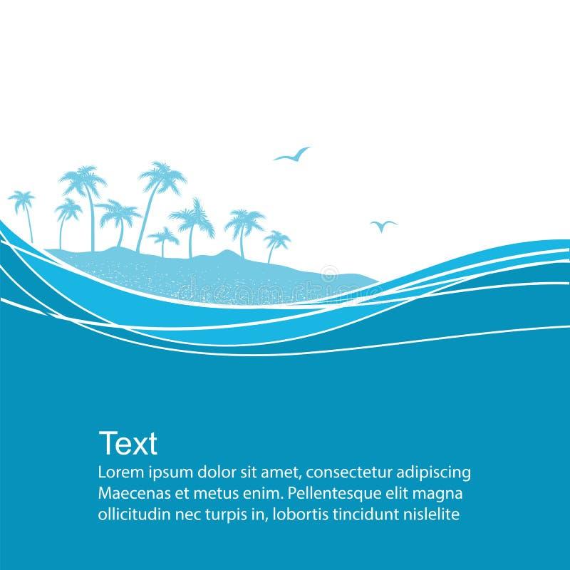 Κύματα θάλασσας και τροπικό νησί Μπλε διανυσματική ανασκόπηση απεικόνιση αποθεμάτων