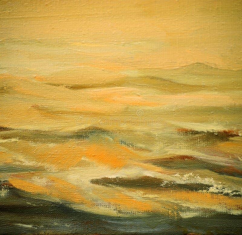 Κύματα θάλασσας, που χρωματίζουν από το πετρέλαιο στον καμβά διανυσματική απεικόνιση
