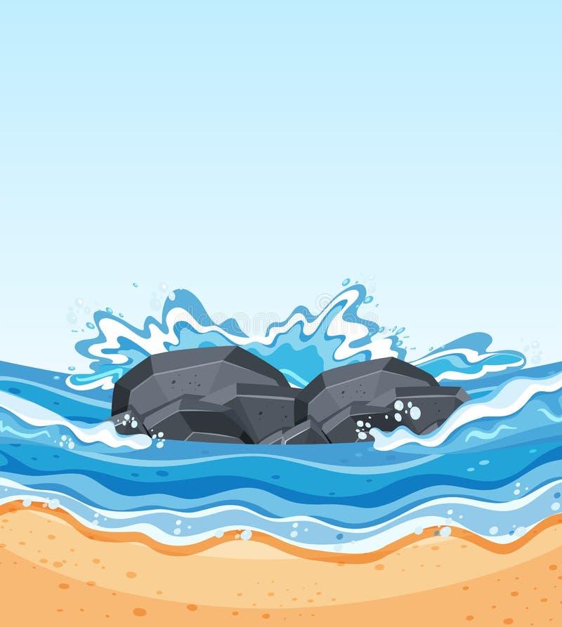 Κύματα που συντρίβουν ενάντια στους βράχους ελεύθερη απεικόνιση δικαιώματος