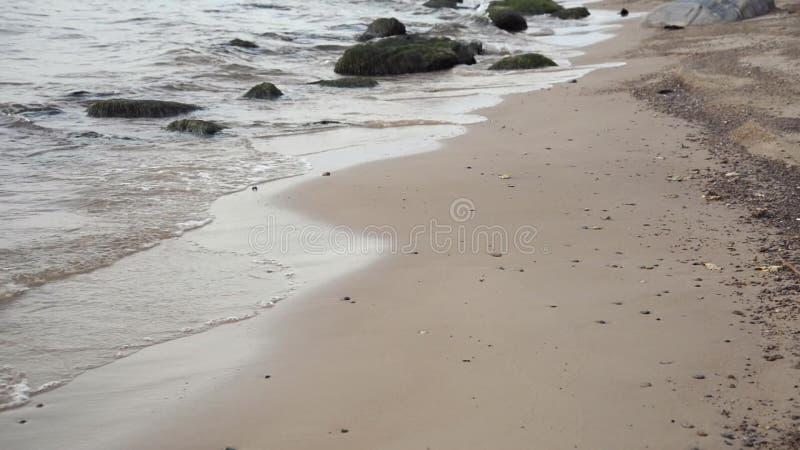 Κύματα που συντρίβουν στην άμμο παραλιών φιλμ μικρού μήκους