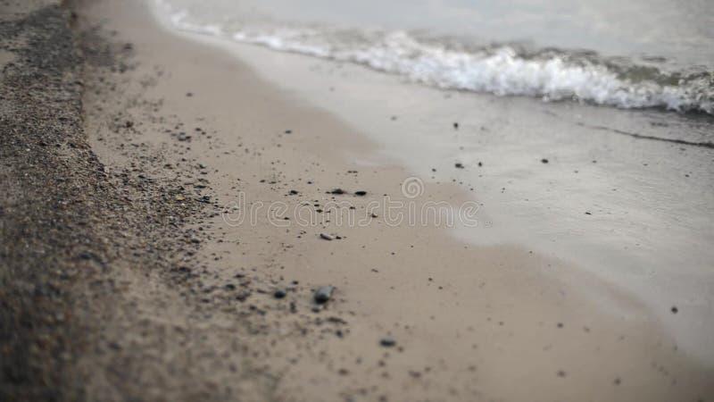 Κύματα που συντρίβουν στην άμμο παραλιών απόθεμα βίντεο
