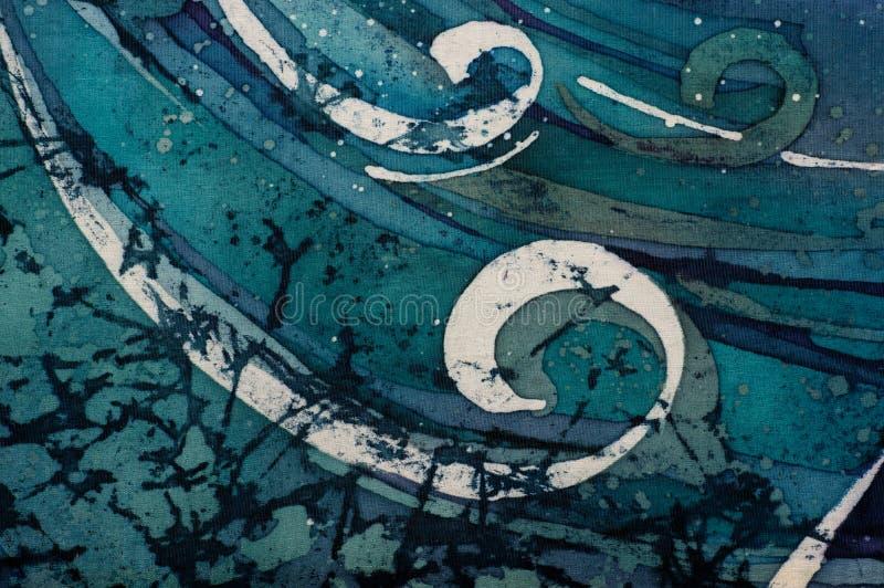 Κύματα, σγουρό, τυρκουάζ, καυτό μπατίκ, σύσταση υποβάθρου, χειροποίητη  διανυσματική απεικόνιση