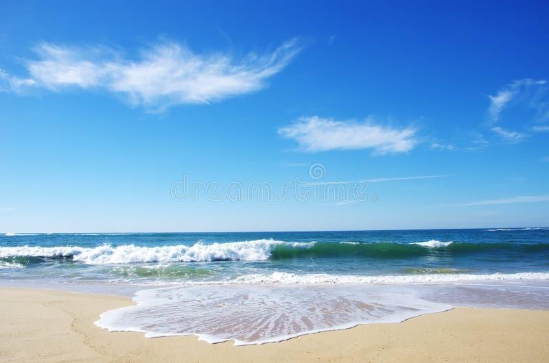 Κύματα στην παραλία και τον ουρανό στοκ φωτογραφία με δικαίωμα ελεύθερης χρήσης
