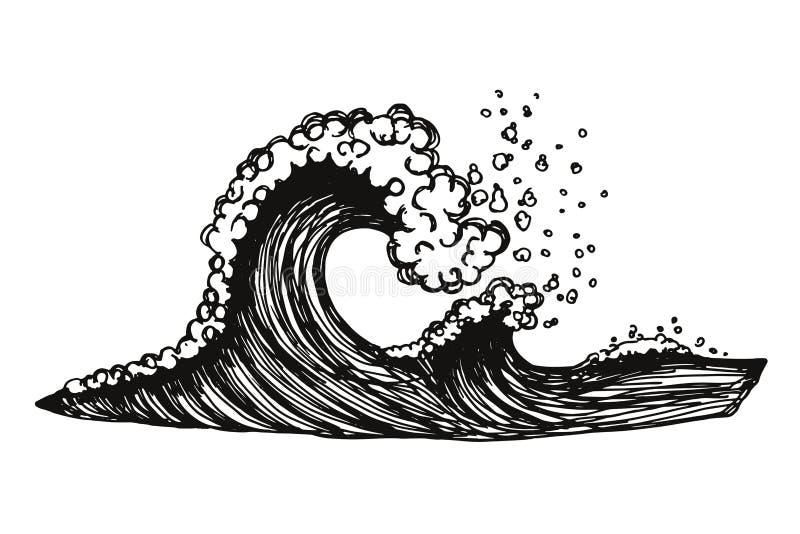 Κύματα της θάλασσας με τον αφρό διανυσματική απεικόνιση