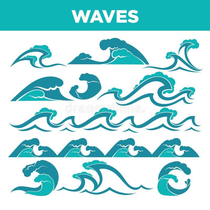 Κύματα των θαλασσών και των ωκεανών κατά τη διάρκεια της θύελλας ή του συνόλου τσουνάμι ελεύθερη απεικόνιση δικαιώματος