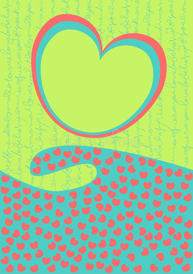 κύμα βαλεντίνων καρδιών ημέρας καρτών διανυσματική απεικόνιση