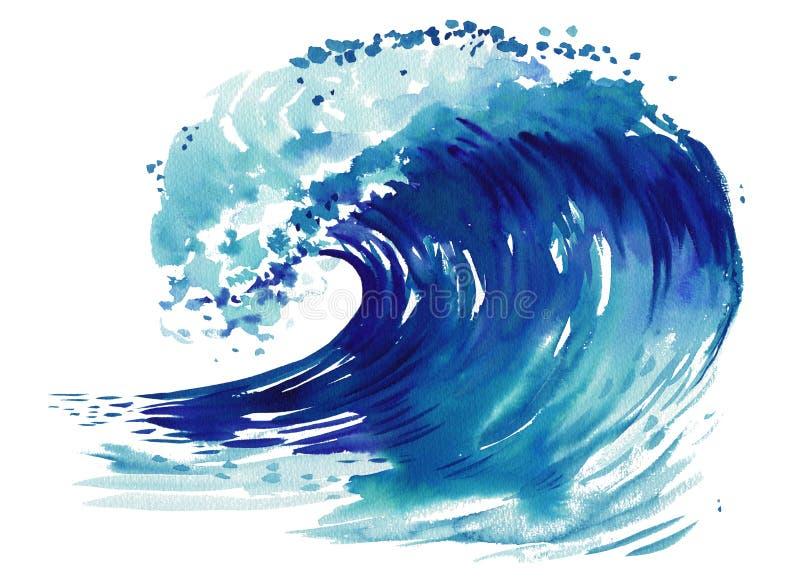 κύμα θαλασσοταραχών συντριβών Αφηρημένη συρμένη χέρι απεικόνιση watercolor, που απομονώνεται στο άσπρο υπόβαθρο διανυσματική απεικόνιση