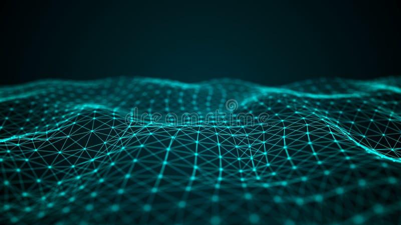 Κύμα να συμπλέξει τα σημεία και τις γραμμές r Τεχνολογικό ύφος για την επιστήμη r διανυσματική απεικόνιση