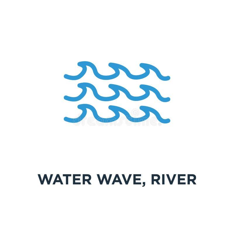 κύμα νερού, εικονίδιο νερού ποταμού στοιχείο φύσης, ωκεανός ή conce θάλασσας διανυσματική απεικόνιση