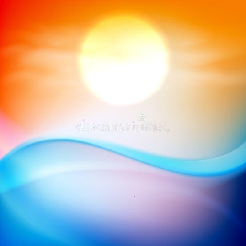 Κύμα νερού στο χρόνο ηλιοβασιλέματος διανυσματική απεικόνιση