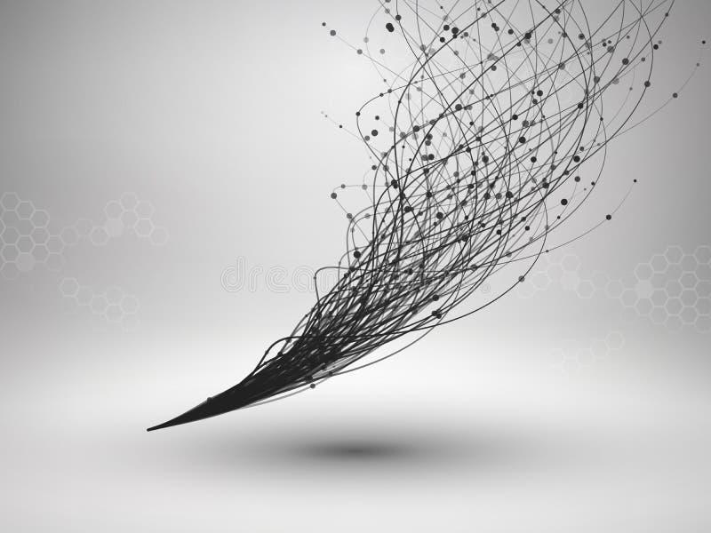 Κύμα Στρόβιλος με τη συνδεδεμένα γραμμή και τα σημεία Συνδεμένη με καλώδιο δομή τρισδιάστατος μηχανισμός εργαλείων σύνδεσης έννοι απεικόνιση αποθεμάτων
