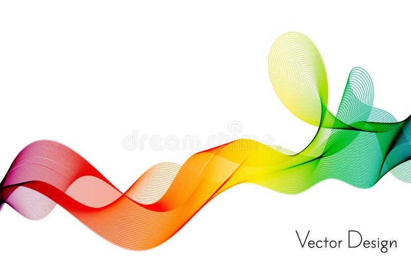 Κύμα των πολλών χρωματισμένων γραμμών Αφηρημένα κυματιστά λωρίδες σε ένα άσπρο υπόβαθρο που απομονώνεται Δημιουργική τέχνη γραμμώ απεικόνιση αποθεμάτων