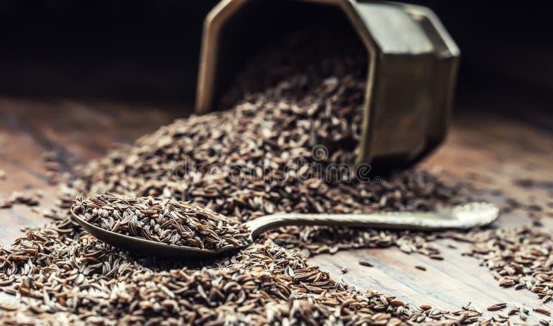 κύμινο Σπόροι του κυμινοειδούς κάρου στον ξύλινο πίνακα Κύμινο στο εκλεκτής ποιότητας κύπελλο και το κουτάλι χαλκού στοκ εικόνα με δικαίωμα ελεύθερης χρήσης