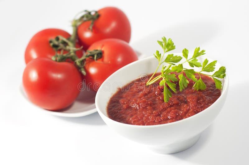 Κύπελλο και πιάτο σάλτσας ντοματών με τις κόκκινες ντομάτες στοκ φωτογραφία με δικαίωμα ελεύθερης χρήσης