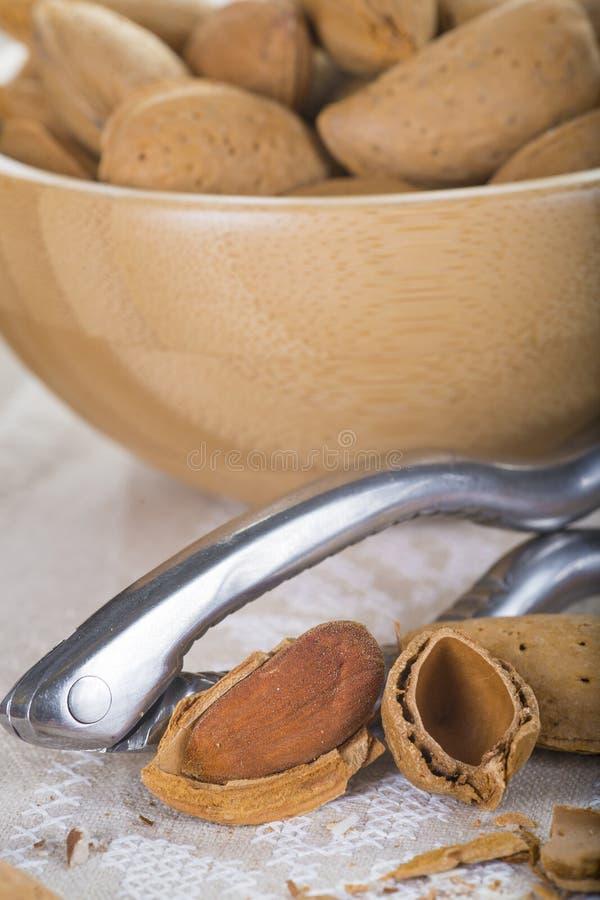 Κύπελλο με τα αμύγδαλα και έναν καρυοθραύστης στοκ εικόνες με δικαίωμα ελεύθερης χρήσης