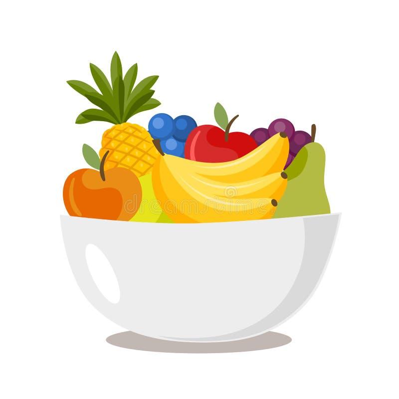 Κύπελλο με τα διάφορα φρούτα που απομονώνονται στο άσπρο υπόβαθρο σιτηρέσιο έννοιας ελεύθερη απεικόνιση δικαιώματος
