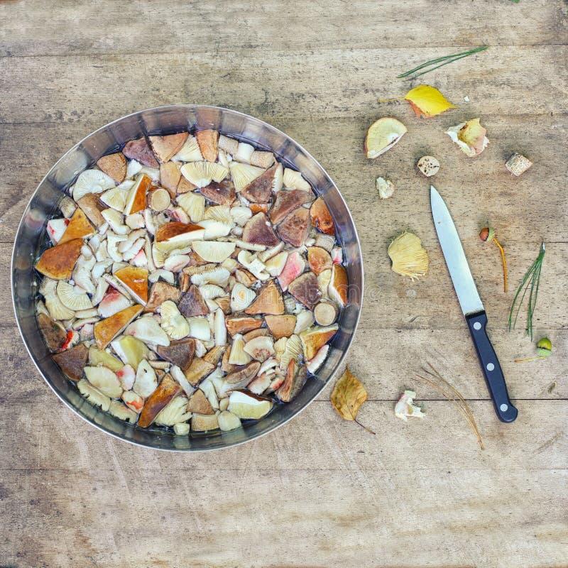 Κύπελλο με τα κομμάτια των δασικού εδώδιμου μανιταριών και του μαχαιριού και του φθινοπώρου στοκ φωτογραφία