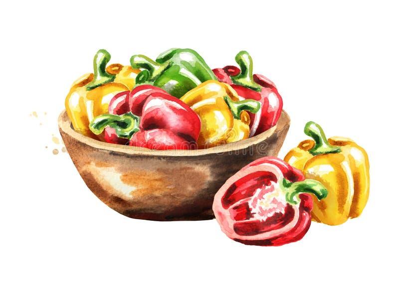 Κύπελλο με τα πιπέρια κουδουνιών Συρμένη χέρι απεικόνιση Watercolor που απομονώνεται στο άσπρο υπόβαθρο στοκ φωτογραφία