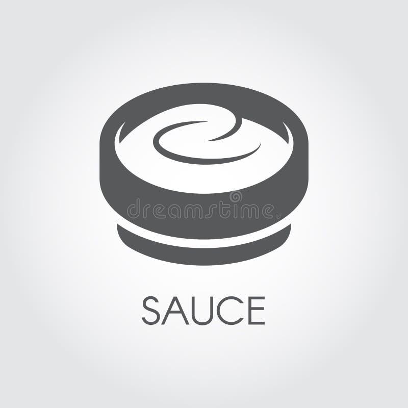 Κύπελλο με την αφηρημένο σάλτσα, τη μαγιονέζα ή το γιαούρτι Επίσης η εικόνα μπορεί να χρησιμοποιηθεί ως καλλυντική κρέμα Εικονίδι απεικόνιση αποθεμάτων