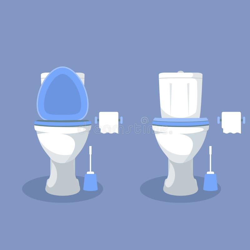 Κύπελλο τουαλετών με το ανοικτό κάθισμα, το έγγραφο και τη βούρτσα τουαλετών διανυσματική απεικόνιση