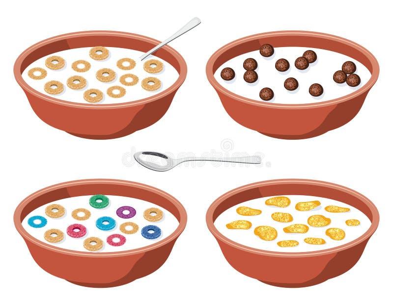 Κύπελλα με τα δημητριακά προγευμάτων στο γάλα απεικόνιση αποθεμάτων