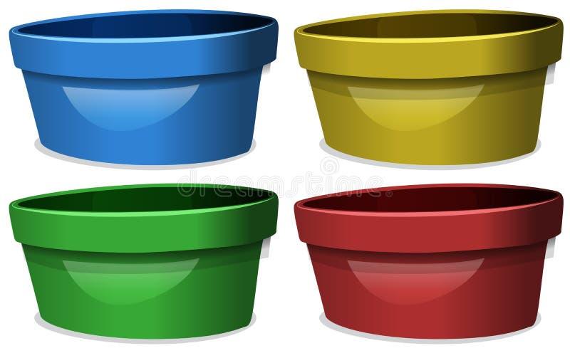 Κύπελλα σε τέσσερα διαφορετικά χρώματα διανυσματική απεικόνιση