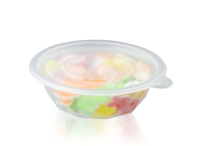 Κύπελλο αποθήκευσης τροφίμων ή πρόχειρων φαγητών στο λευκό στοκ εικόνες