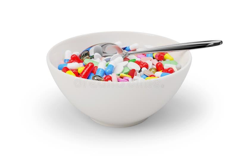 Κύπελλο και κουτάλι προγευμάτων ιατρικής στοκ εικόνα με δικαίωμα ελεύθερης χρήσης