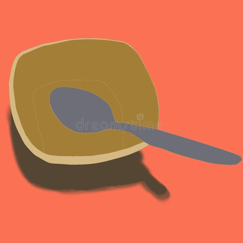 Κύπελλο με το κουτάλι σε μια κουζίνα και ένα κόκκινο υπόβαθρο στοκ εικόνα με δικαίωμα ελεύθερης χρήσης