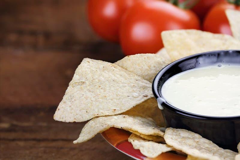 Κύπελλο της άσπρης σάλτσας τυριών Queso Blanco στοκ φωτογραφίες