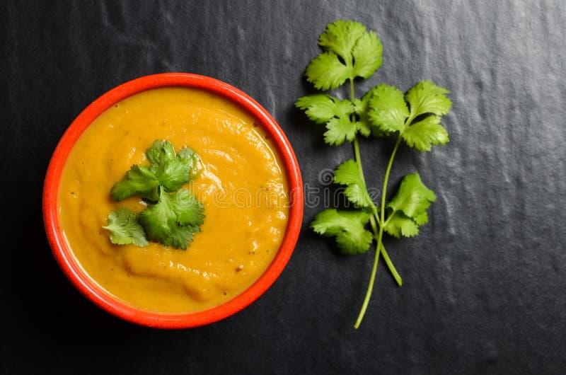 Κύπελλο της φρέσκιας σπιτικής σούπας γλυκών πατατών στοκ φωτογραφία με δικαίωμα ελεύθερης χρήσης