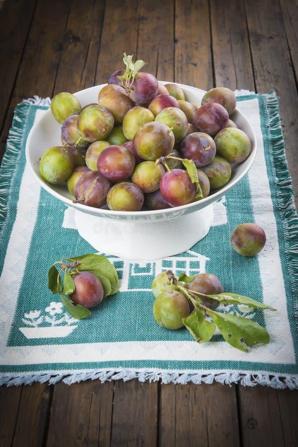 Κύπελλο φρούτων με τα δαμάσκηνα πράσινων δαμάσκηνων στοκ φωτογραφίες με δικαίωμα ελεύθερης χρήσης