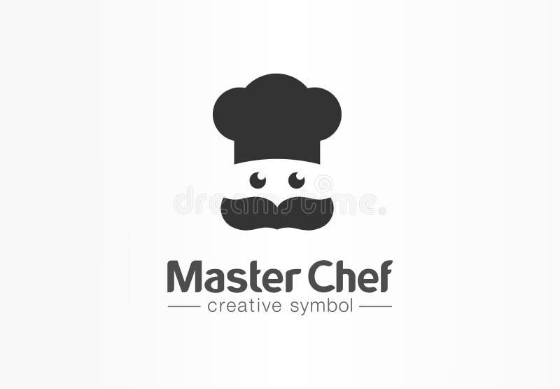 Κύρια έννοια συμβόλων αρχιμαγείρων δημιουργική Πρόσωπο μαγείρων, mustache και καπέλο, αφηρημένο επιχειρησιακό λογότυπο εστιατορίω διανυσματική απεικόνιση