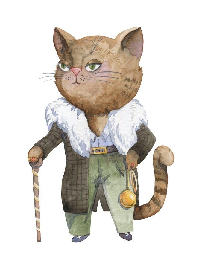 Κύρια γάτα γκάγκστερ μαφίας Εγκληματικός χαρακτήρας κινούμενων σχεδίων ανασκόπηση που ψαλιδίζει το απομονωμένο λευκό μονοπατιών α ελεύθερη απεικόνιση δικαιώματος
