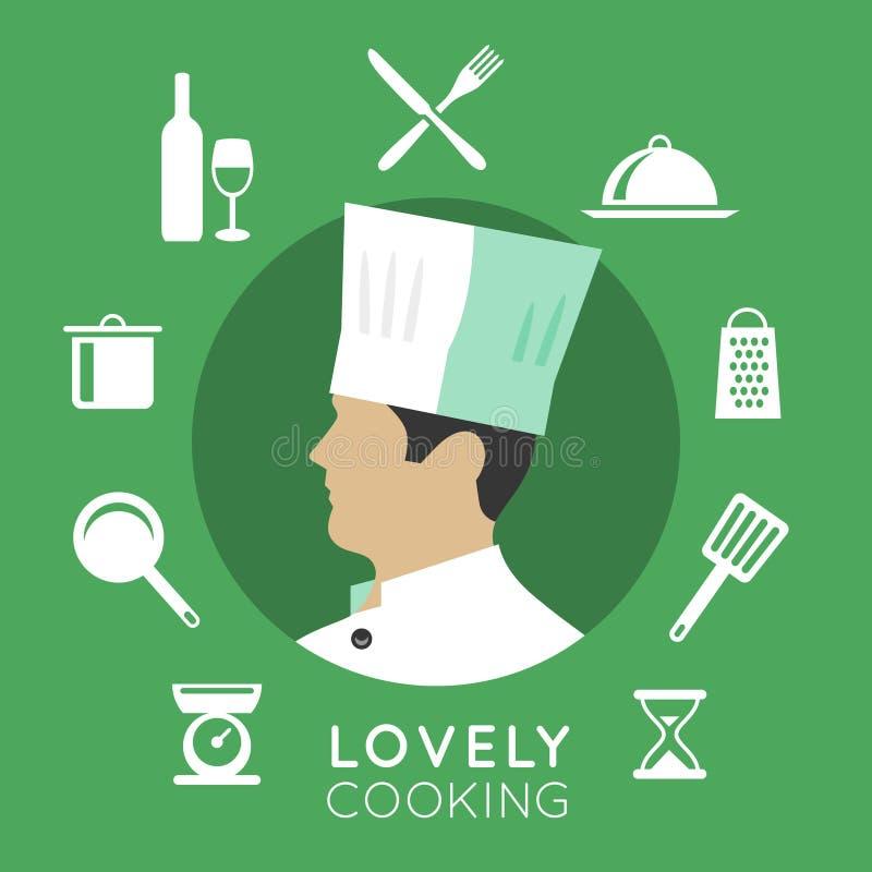 Κύρια εικονίδια μαγείρων διανυσματική απεικόνιση