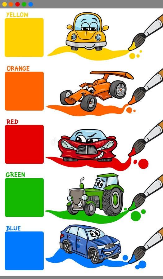 Κύρια κινούμενα σχέδια χρωμάτων με τα οχήματα απεικόνιση αποθεμάτων