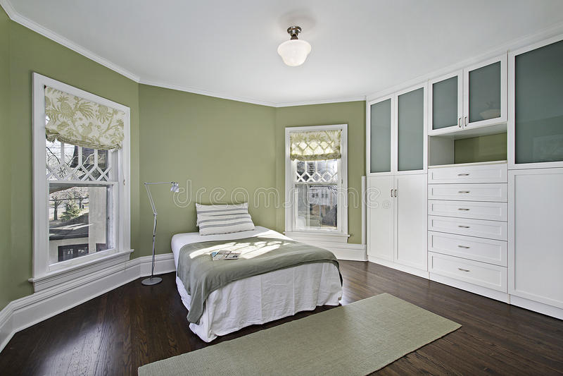 Κύρια κρεβατοκάμαρα με τους πράσινους τοίχους στοκ εικόνες με δικαίωμα ελεύθερης χρήσης