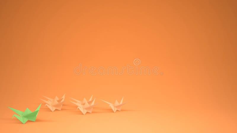 Κύρια ομάδα γερανών Πράσινης Βίβλου Origami γερανών, ιδέα έννοιας κινήτρου ηγεσίας με το διάστημα αντιγράφων, πορτοκάλι στοκ εικόνες