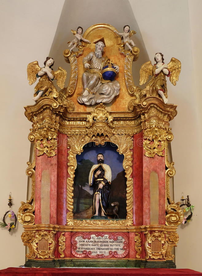Κύριος βωμός στο παρεκκλησι Αγίου Roch, Ζάγκρεμπ στοκ εικόνα