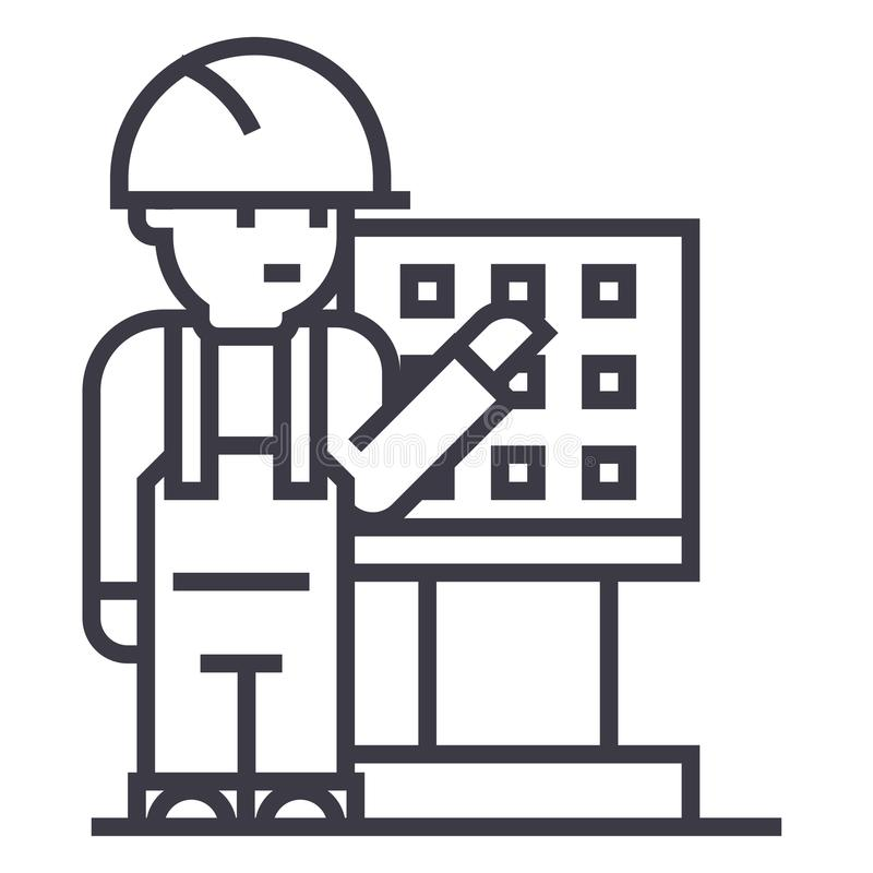 Κύριος, επιστάτης, μηχανικός με το διανυσματικό εικονίδιο γραμμών εργαλειομηχανών, σημάδι, απεικόνιση στο υπόβαθρο, editable κτυπ απεικόνιση αποθεμάτων